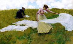 Charles Courtney Curran (American, 1861 - 1942)   A Breezy Day 1887
