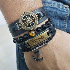 f5f079002a5 Kit 4 Pulseiras Masculinas Couro Ancora Bussola Shambala mens bracelets fashion  style cocar brasil Loja De