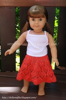 Free Pattern for Crocheted skirt for 18 inch doll.  Thanks to Olga for sharing this lovely pattern! Please note:  This pattern is for personal use only and the skirt may not be sold!!