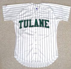 TULANE #1 BASEBALL JERSEY Heavy-Duty-Polyester Button-Down-Front White Pinstripe #RussellAthletic #TulaneGreenWave