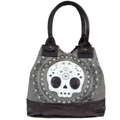 Loungefly Lace Skull Canvas Tote Bag ($77) ❤ liked on Polyvore