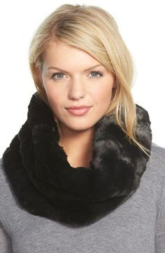 Badgley Mischka faux fur infinity scarf: http://www.stylemepretty.com/living/2016/01/29/cute-cold-weather-accessories/: