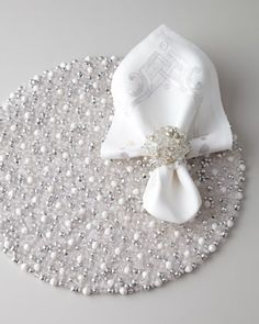 Silver+&+White+Holiday+Table+Linens+by+Kim+Seybert+at+Horchow.#alliwantfromHorchow