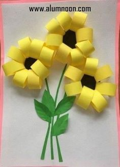 Gorgeous folded paper sunflower craft that makes a perfect summer kids craft, fun flower crafts for kids and paper crafts for kids. Spring Crafts For Kids, Paper Crafts For Kids, Summer Crafts, Fun Crafts, Art For Kids, Diy And Crafts, Arts And Crafts, Colorful Crafts, Creative Crafts