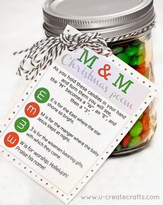 M&M Christmas Poem Free Printable at U Create Great backup gift idea in case life gets too chaotic to bake or buy small gifts.  Neighbor and church gifts?