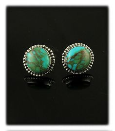 Round Stud Earrings with Stormy Mountain Turquoise
