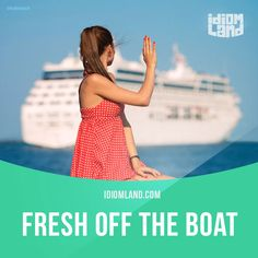 """""""Fresh off the boat"""" means """"newly arrived from a foreign place"""".  Example: I'm not fresh off the boat. I know what's going on.  Get our apps for learning English: learzing.com"""
