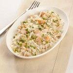 Riso basmati con salmone e pistacchi Orzo, Risotto, Potato Salad, Mashed Potatoes, Healthy Recipes, Vegan, Cooking, Ethnic Recipes, Collage