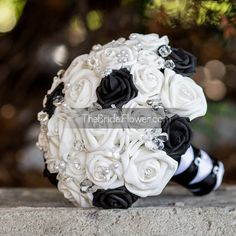 Black and white wedding bouquet with clear by TheBridalFlower
