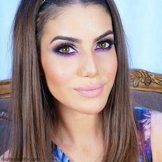 Party makeup look with silver accents by Camila Coelho using using Stila and Urban Decay eyeshadow palettes, then added a touch of purple color on lower eyelid and finsihed off the look with gorgeous Buttercup nude pink lipstick by Gerard Cosmetics. #makeup