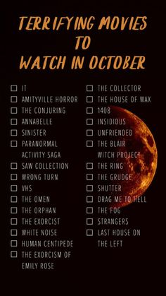 31 Days of Halloween Movies! The BEST list of Haloween movies to watch! All your favorite Halloween films from scary horror movies to funny, classics and new flicks! Enjoy your Halloween movie night party! Scary Movie List, Terrifying Movies, Scary Movies To Watch, Netflix Movie List, Horror Movies On Netflix, Netflix Movies To Watch, Movie To Watch List, Horror Films List, Scariest Horror Movies