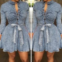 Stand Collar Button Closure Denim Dress get here… Jeans Dress, Shirt Dress, Blue Jean Dress, Fashion Killa, I Love Fashion, Simple Designs, Dress To Impress, Cute Outfits, Denim Outfits