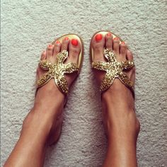 Beachwear sandals. Gold & glittery. Really makes me wish I was somewhere warm!