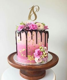 of the Best Homemade Birthday Cake Ideas - bake - Kuchen 18th Birthday Cake For Girls, 14th Birthday Cakes, Homemade Birthday Cakes, Cool Birthday Cakes, 18th Cake, Bolo Cake, Beautiful Birthday Cakes, Birthday Cake Decorating, Drip Cakes