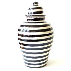 Black Striped Tibor by Talavera Vazquez. Stylish, modern Mexican ginger jar. $185 #Mexico #ceramics #stripes