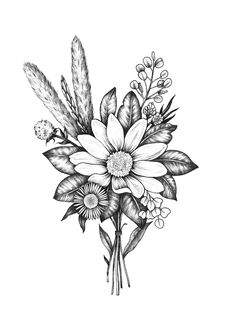 Pin by sarah on tattoos tattoos, bouquet tattoo, flower bouquet tattoo. Flower Bouquet Tattoo, Mandala Flower Tattoos, Forearm Flower Tattoo, Tattoo Flowers, Drawing Flowers, Flower Bouqet, Simple Flower Tattoo, Birth Flower Tattoos, Peonies Tattoo
