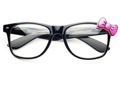 CLEAR KITTY WAYFARER GLASSES W151 WITH PINK BOW
