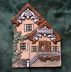 Pottery Houses, House Doors, Air Dry Clay, Leather Cuffs, Painted Rocks, Polymer Clay, Ceramics, Frame, Painting