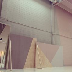 wood - pink walls - industrial