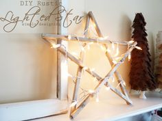 DIY Rustic Lighted Star: It is so simple to create rustic star! Perfect for holiday, Christmas or New Year's decor! by Simply Designing Diy Christmas Star, Rustic Christmas, Christmas Wreaths, Christmas Crafts, Christmas Decorations, Holiday Decor, Beach Christmas, Christmas Things, Holiday Ideas