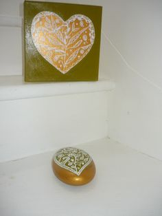 Zen hearts on canvas and stone green and gold from mara ceramics