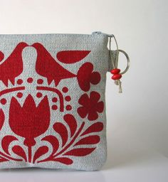 Recycled Denim Red Scandinavian Print by HummingbirdFactory
