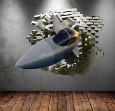Items similar to Army Fighter Jet Plane Cracked Bricks Wall Sticker Urban Decal Boys Art Mural Wall Decal Transfers on Etsy Childrens Wall Decals, 3d Wall Decals, Removable Wall Stickers, Framed Wall Art, Max Steel, Space Invaders, Art Mural, Wall Murals, Cracked Wall