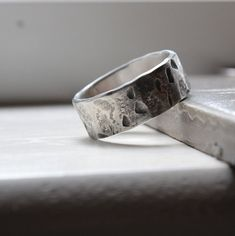 Mens Industrial Fashion Distressed Band Ring by tinahdee on Etsy, $80.00