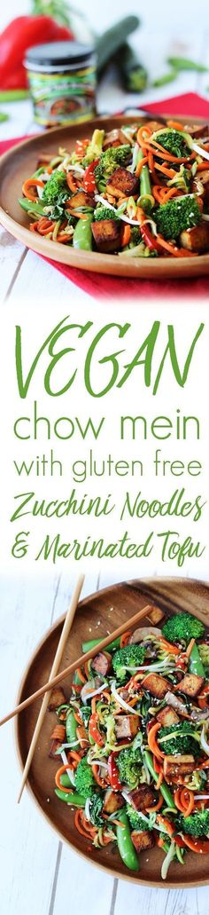 This Vegan Chow Mein features delicious marinated tofu and gluten free low carb zucchini noodles. It's low calorie, low fat Chinese food at it's best!(Healthy Recipes With Calories) Vegan Dinner Recipes, Healthy Recipes, Vegan Dinners, Asian Recipes, Whole Food Recipes, Cooking Recipes, Low Fat Vegan Recipes, Low Calorie Vegan, Crockpot Recipes