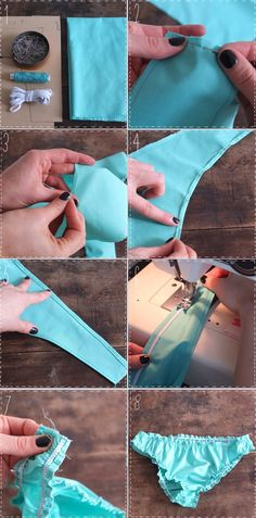 For all you summer lovin' bikini wearin' girls heres some easy DIY bikini bottoms! Later I will pin a DIY Bandeau to go with! Worth a shot Lingerie Patterns, Sewing Lingerie, Clothing Patterns, Sewing Patterns, Do It Yourself Mode, Do It Yourself Fashion, Lingerie Couture, Diy Couture, Sewing Hacks
