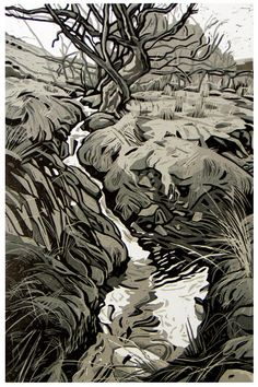 Nant y Mynydd by Ann Lewis from her Welsh landscapes  - 5 cut linocut