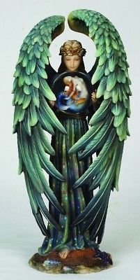 Sheila Wolk Art Kindred Spirit Angel Statue Figurine Crystal Ball Mermaid