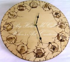 North American Birds Clock Wood Burned by HelensArtCreations