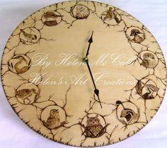 North American Birds Clock Wood Burned by HelensArtCreations