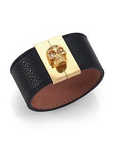 Alexander McQueen - Crystal & Grain Leather Gated Skull Cuff Bracelet