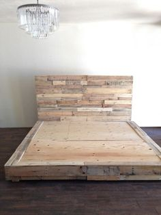 Reclaimed Wood Platform Bed in Natural Base Twin Full Queen King Cali King California Single Double Foundation Headboard Beach House Cabin - Bed Headboard - Ideas of Bed Headboard - reclaimed wood platform bed base pallet natural twin by KaseCustom Raised Platform Bed, Platform Bed Base, Pallet Platform Bed, Rustic Platform Bed, Cama Design, Bed Design, Wood Pallet Beds, Pallet Furniture, Pallett Bed