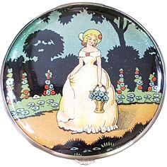 Vintage Gwenda Foil Decorated Crinoline Lady Powder Compact - Unused