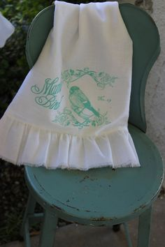 Ruffle Flour Sack  Tea Towel Cottage by tatteredgoods on Etsy, $16.95