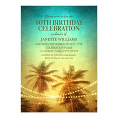 Tropical Beach Themed 80th Birthday Party Hawaiian Card - birthday cards invitations party diy personalize customize celebration