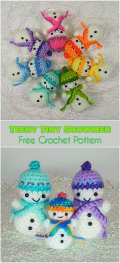 Teeny Tiny Snowmen [Free Crochet Pattern] Follow us for ONLY FREE crocheting patterns for Amigurumi, Toys, Afghans and many more!