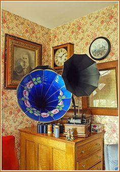 Victrola Horn-Blue Horn, Pink Flowers