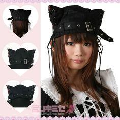Punk Lolita Cat Ear Hat $20.63 from http://minkyshop.com/punk-lolita-cat-ear-hat.html
