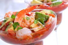Mexican Shrimp Cocktail -  Ingredients:  1 can (14-1/2 ounces) diced tomatoes with mild green chiles, undrained  1 small avocado, cut into 1/2-inch cubes (1/2 cup)  2 tablespoons chopped fresh cilantro  1 tablespoon fresh lime juice  Hot pepper sauce to taste