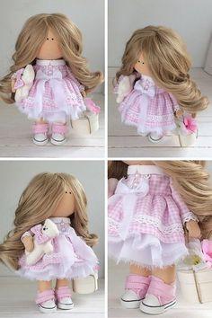 Fabric doll Handmade doll Tilda doll Interior doll Art doll Blonde doll Pink doll Soft doll Cloth doll Love doll Collection doll by Maria L Pink Doll, Waldorf Dolls, Soft Dolls, Fabric Dolls, Doll Clothes, Flower Girl Dresses, Textiles, Hello Dear, Handmade