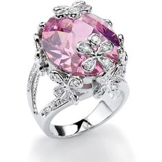 Palm Beach Jewelry PalmBeach 21.42 TCW Oval-Cut Pink Cubic Zirconia... ($40) ❤ liked on Polyvore featuring jewelry, rings, pink, pear cut ring, wide band rings, flower ring, butterfly ring and cz rings