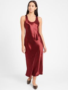 Bias-Cut Satin Slip Dress Banana Republic Outfits, Banana Republic Dress, Satin Slip, Satin Fabric, Holiday Fashion, Autumn Fashion, Holiday Style, Wrap Coat, Slip Skirts