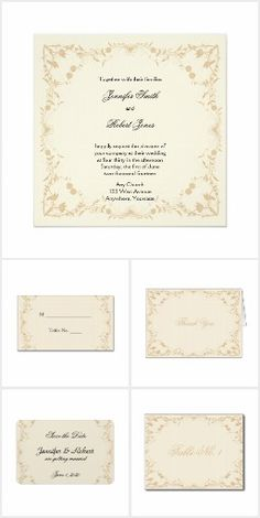 Cream and Gold Vintage Pinstripe Floral Wedding