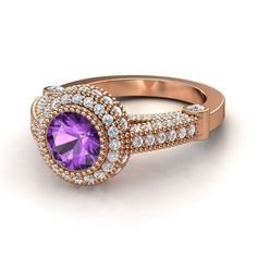 Round Amethyst 14K Rose Gold Ring with Diamond | Vanessa Ring