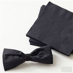Oscars Black Tie Napkins : Take these paper napkins to the next level for your Black Tie Affair this Sunday. Fold the napkins accordion style then gather in the center with black ribbon and a dab of hot glue