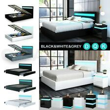 Details About Rgb Led Bed Frame Bedside Table Double Queen King